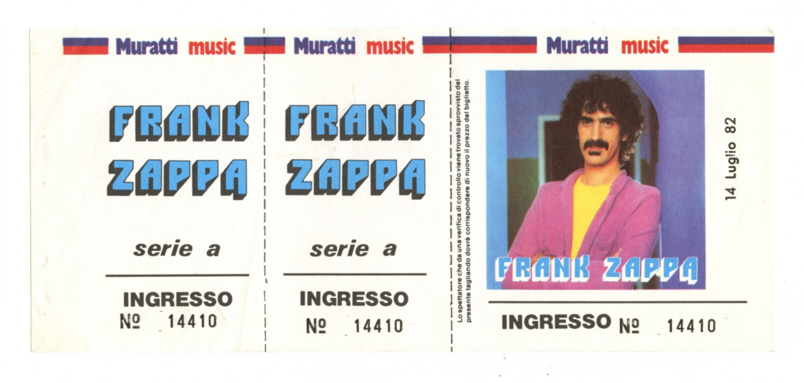 Frank Zappa Ticket 1982 Jul 14 Stadio Communale Favorita Palermo Italy Unused