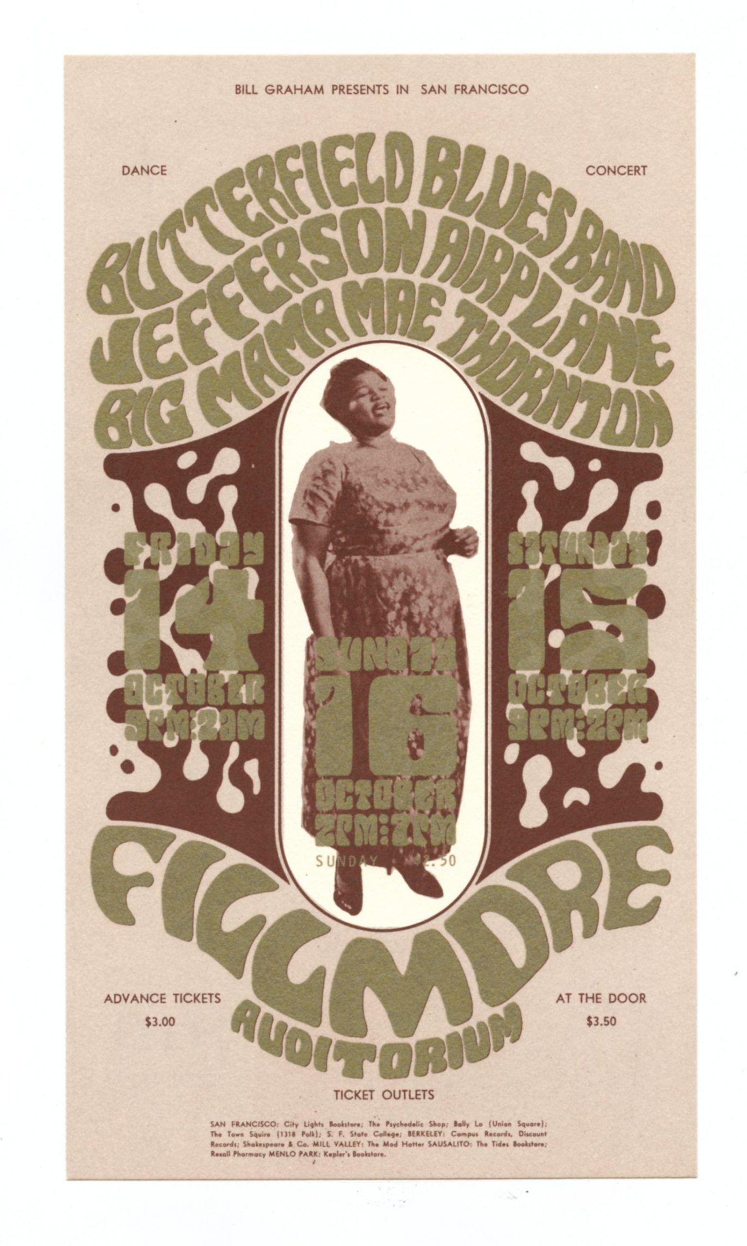 BG  31 Postcard Jefferson Airplane Big Mama Thornton 1966 Oct 14